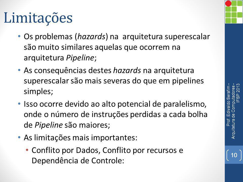 Limitações Os problemas (hazards) na arquitetura superescalar são muito similares aquelas que ocorrem na arquitetura Pipeline; As consequências destes