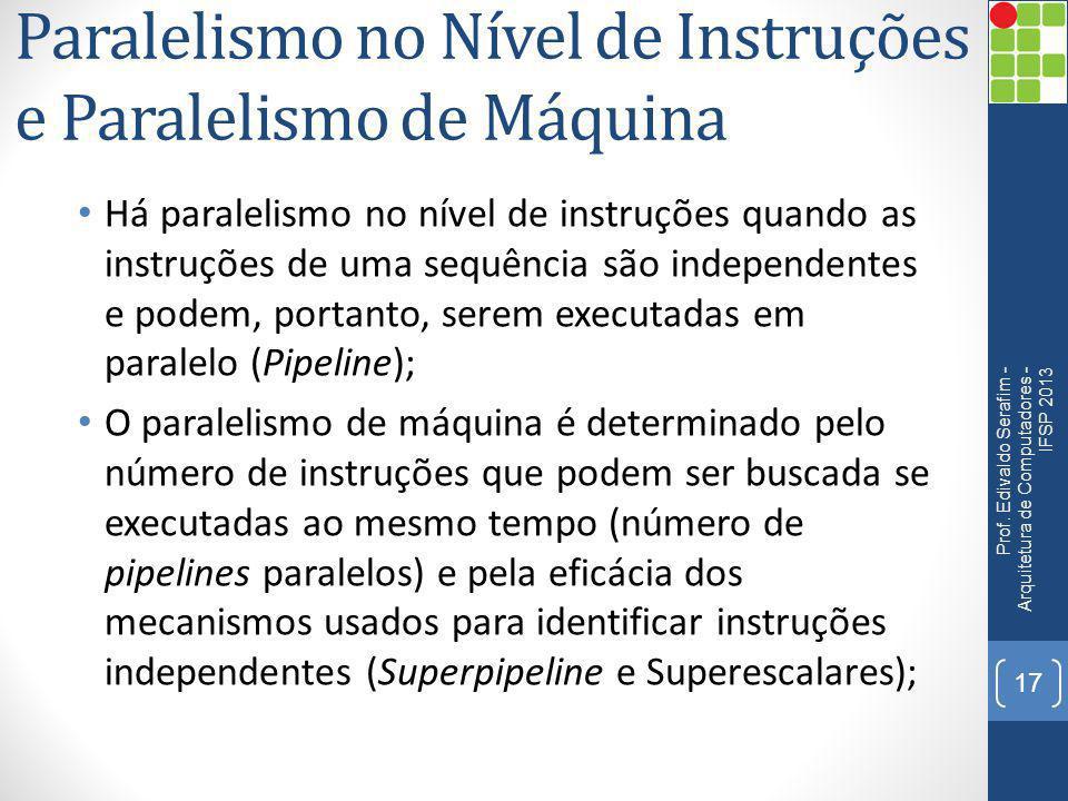 Paralelismo no Nível de Instruções e Paralelismo de Máquina Há paralelismo no nível de instruções quando as instruções de uma sequência são independen
