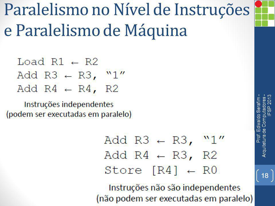 Paralelismo no Nível de Instruções e Paralelismo de Máquina Prof. Edivaldo Serafim - Arquitetura de Computadores - IFSP 2013 18