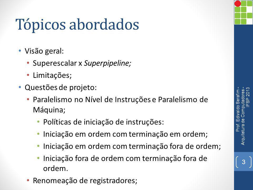 Tópicos abordados Visão geral: Superescalar x Superpipeline; Limitações; Questões de projeto: Paralelismo no Nível de Instruções e Paralelismo de Máqu
