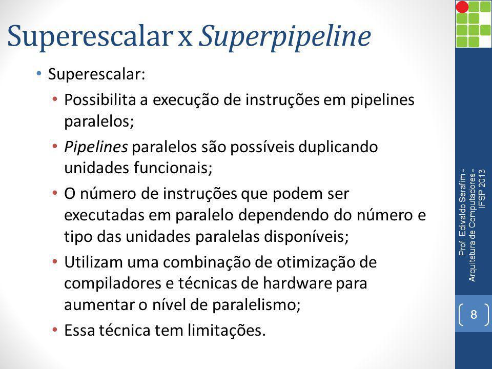 Superescalar x Superpipeline Superescalar: Possibilita a execução de instruções em pipelines paralelos; Pipelines paralelos são possíveis duplicando u