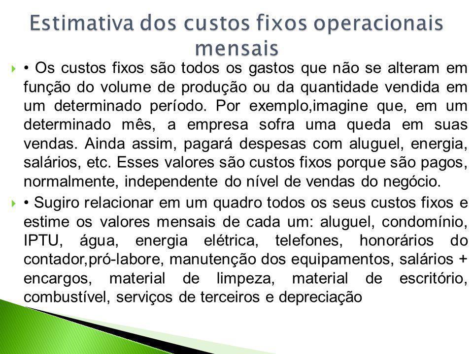 Os custos fixos são todos os gastos que não se alteram em função do volume de produção ou da quantidade vendida em um determinado período.