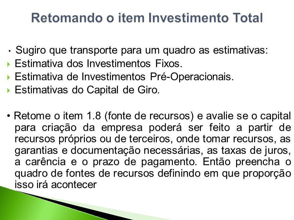 Sugiro que transporte para um quadro as estimativas: Estimativa dos Investimentos Fixos. Estimativa de Investimentos Pré-Operacionais. Estimativas do