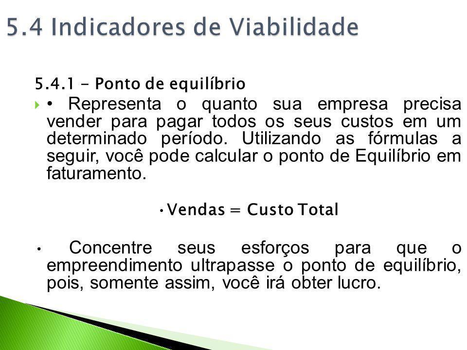 5.4.1 - Ponto de equilíbrio Representa o quanto sua empresa precisa vender para pagar todos os seus custos em um determinado período. Utilizando as fó