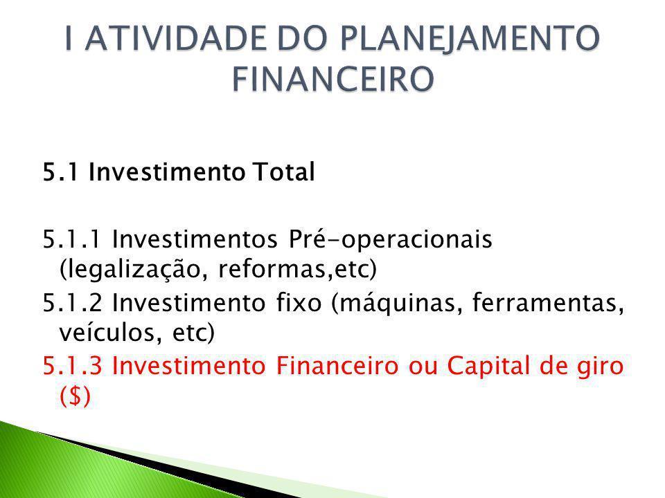 5.1 Investimento Total 5.1.1 Investimentos Pré-operacionais (legalização, reformas,etc) 5.1.2 Investimento fixo (máquinas, ferramentas, veículos, etc) 5.1.3 Investimento Financeiro ou Capital de giro ($)