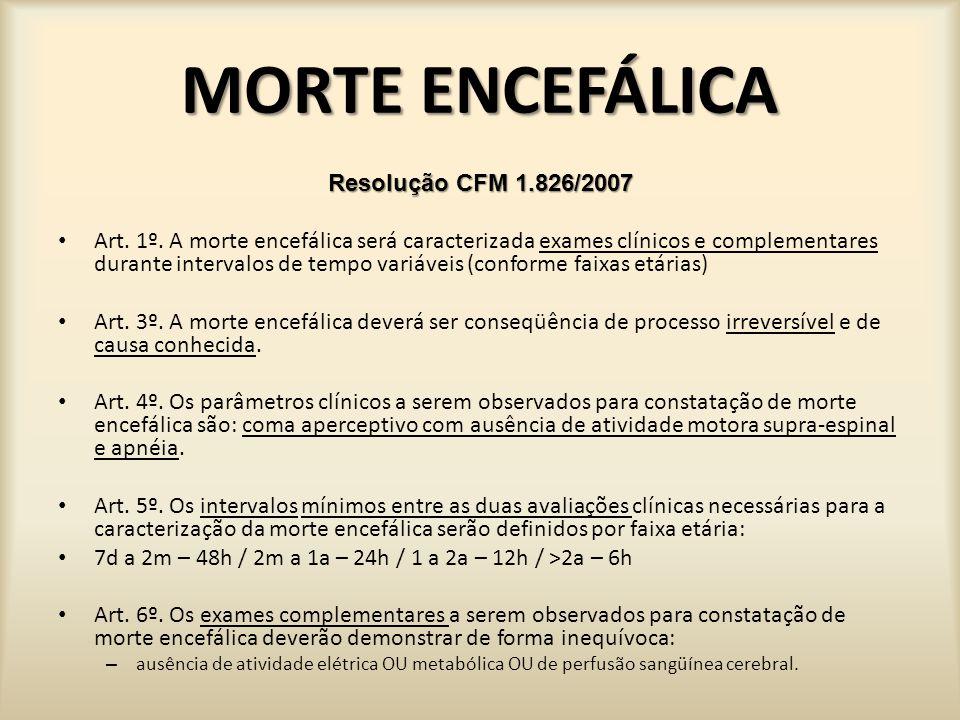 MORTE ENCEFÁLICA PRÉ - REQUISITOS PARA DIAGNÓSTICO MORTE ENCEFÁLICA (CFM) COMA DE ETIOLOGIA CONHECIDA: Trauma, AVC, neo (Pcte c/ TC crânio).