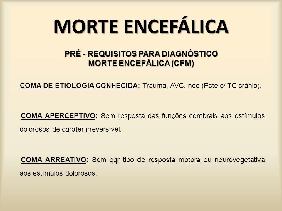MORTE ENCEFÁLICA EXAMES COMPLEMENTARES EEG: Ausência de atividade elétrica cerebral; POTENCIAL EVOCADO MULTIMODAL (Os potenciais evocados são obtidos através do registro e promediação das respostas aos estímulos sensoriais captados na superfície do crânio) : Ausência de atividade elétrica no tronco cerebral; TC COM EMISSÃO FÓTON (SPECT – calcula conc de radio-nuclídeos introduzidos ): Ausência de atividade metabólica encefálica; CINTILOGRAFIA RADIOISOTÓPICA, DOPPLER TRANSCRANIANO, ANGIOGRAFIA DO SISTEMA CAROTÍDEO E VÉRTEBRO-BASILAR: Ausência de perfusão sanguínea encefálica;