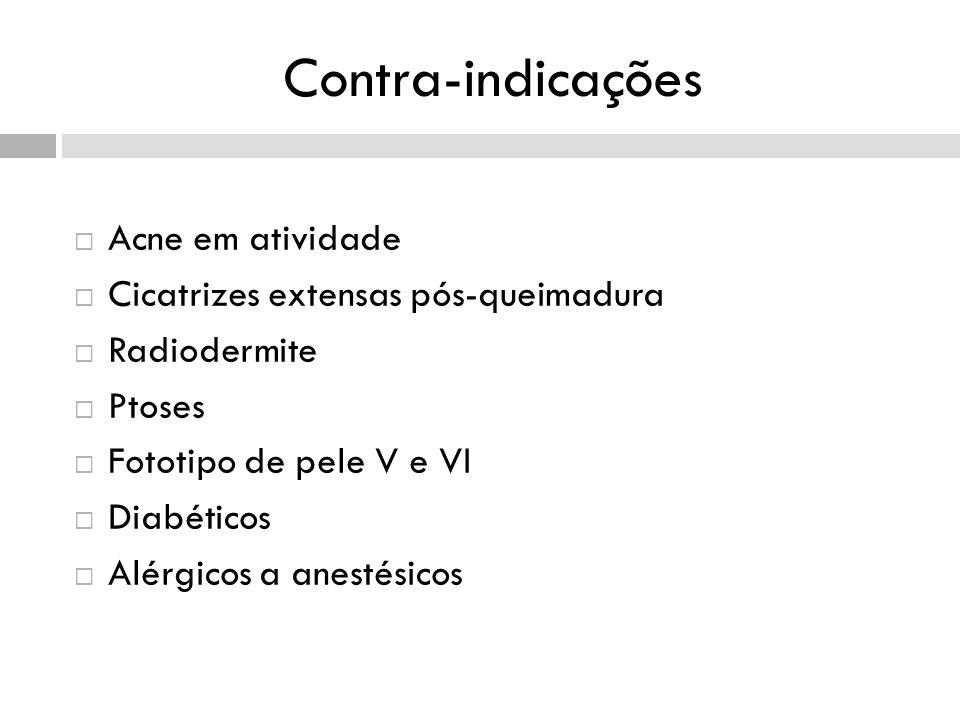 Contra-indicações Acne em atividade Cicatrizes extensas pós-queimadura Radiodermite Ptoses Fototipo de pele V e VI Diabéticos Alérgicos a anestésicos