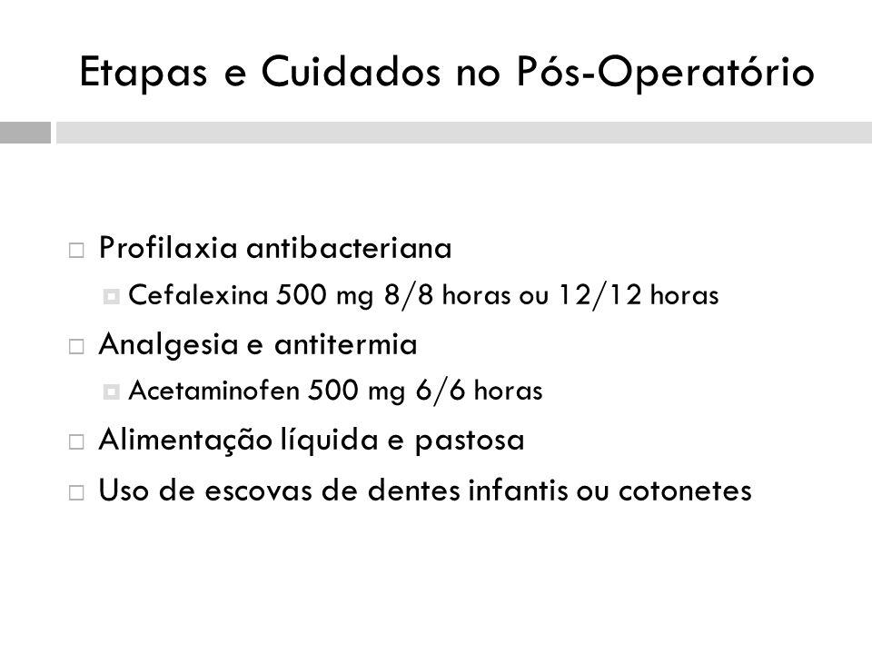 Etapas e Cuidados no Pós-Operatório Profilaxia antibacteriana Cefalexina 500 mg 8/8 horas ou 12/12 horas Analgesia e antitermia Acetaminofen 500 mg 6/6 horas Alimentação líquida e pastosa Uso de escovas de dentes infantis ou cotonetes