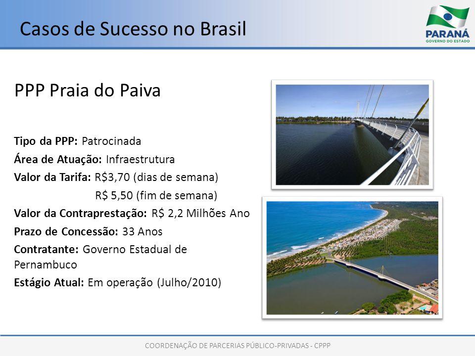 COORDENAÇÃO DE PARCERIAS PÚBLICO-PRIVADAS - CPPP Casos de Sucesso no Brasil PPP Praia do Paiva Tipo da PPP: Patrocinada Área de Atuação: Infraestrutura Valor da Tarifa: R$3,70 (dias de semana) R$ 5,50 (fim de semana) Valor da Contraprestação: R$ 2,2 Milhões Ano Prazo de Concessão: 33 Anos Contratante: Governo Estadual de Pernambuco Estágio Atual: Em operação (Julho/2010)