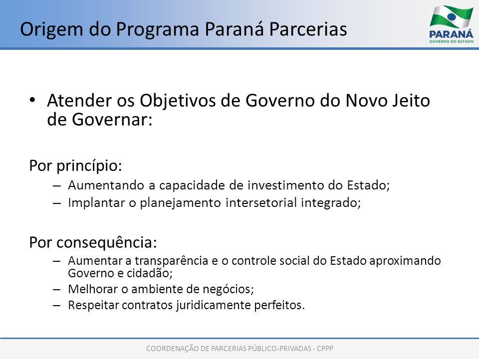 COORDENAÇÃO DE PARCERIAS PÚBLICO-PRIVADAS - CPPP Origem do Programa Paraná Parcerias Atender os Objetivos de Governo do Novo Jeito de Governar: Por pr