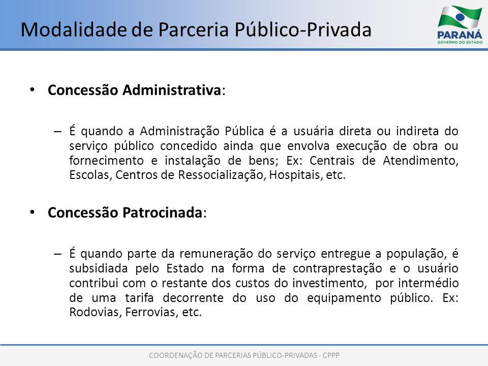 COORDENAÇÃO DE PARCERIAS PÚBLICO-PRIVADAS - CPPP Modalidade de Parceria Público-Privada Concessão Administrativa: – É quando a Administração Pública é