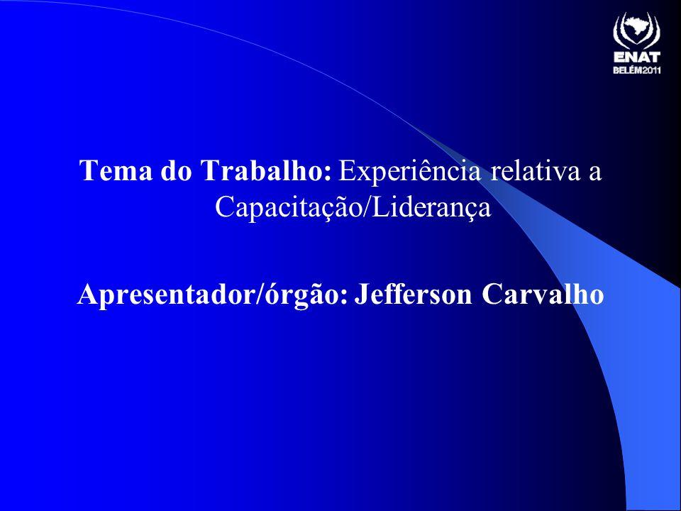 Tema do Trabalho: Experiência relativa a Capacitação/Liderança Apresentador/órgão: Jefferson Carvalho