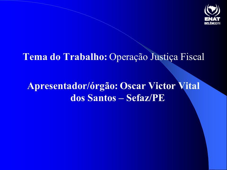 Tema do Trabalho: Operação Justiça Fiscal Apresentador/órgão: Oscar Victor Vital dos Santos – Sefaz/PE