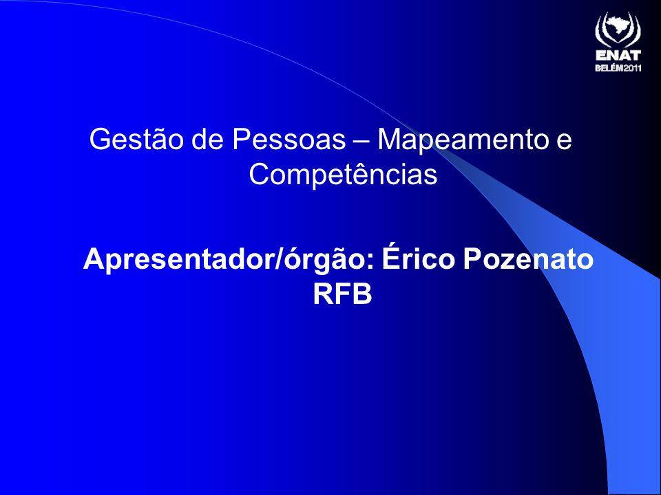 Gestão de Pessoas – Mapeamento e Competências Apresentador/órgão: Érico Pozenato RFB