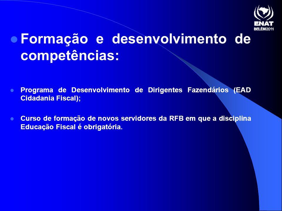 Formação e desenvolvimento de competências: Programa de Desenvolvimento de Dirigentes Fazendários (EAD Cidadania Fiscal); Curso de formação de novos servidores da RFB em que a disciplina Educação Fiscal é obrigatória.