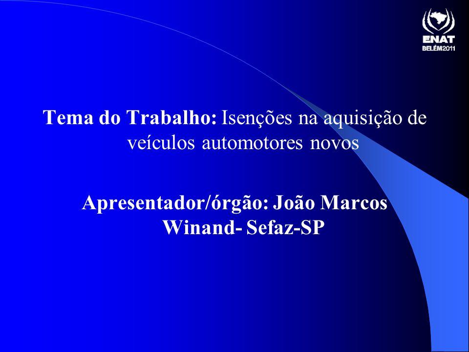 Tema do Trabalho: Isenções na aquisição de veículos automotores novos Apresentador/órgão: João Marcos Winand- Sefaz-SP