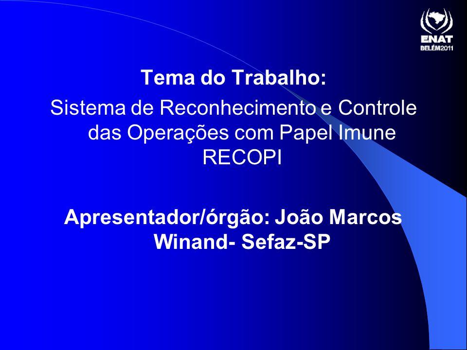 Tema do Trabalho: Sistema de Reconhecimento e Controle das Operações com Papel Imune RECOPI Apresentador/órgão: João Marcos Winand- Sefaz-SP
