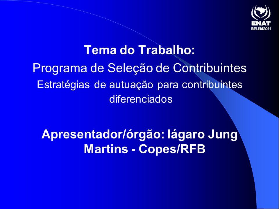 Tema do Trabalho: Programa de Seleção de Contribuintes Estratégias de autuação para contribuintes diferenciados Apresentador/órgão: Iágaro Jung Martins - Copes/RFB