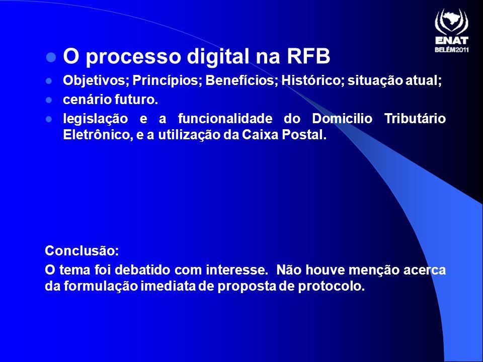 O processo digital na RFB Objetivos; Princípios; Benefícios; Histórico; situação atual; cenário futuro.