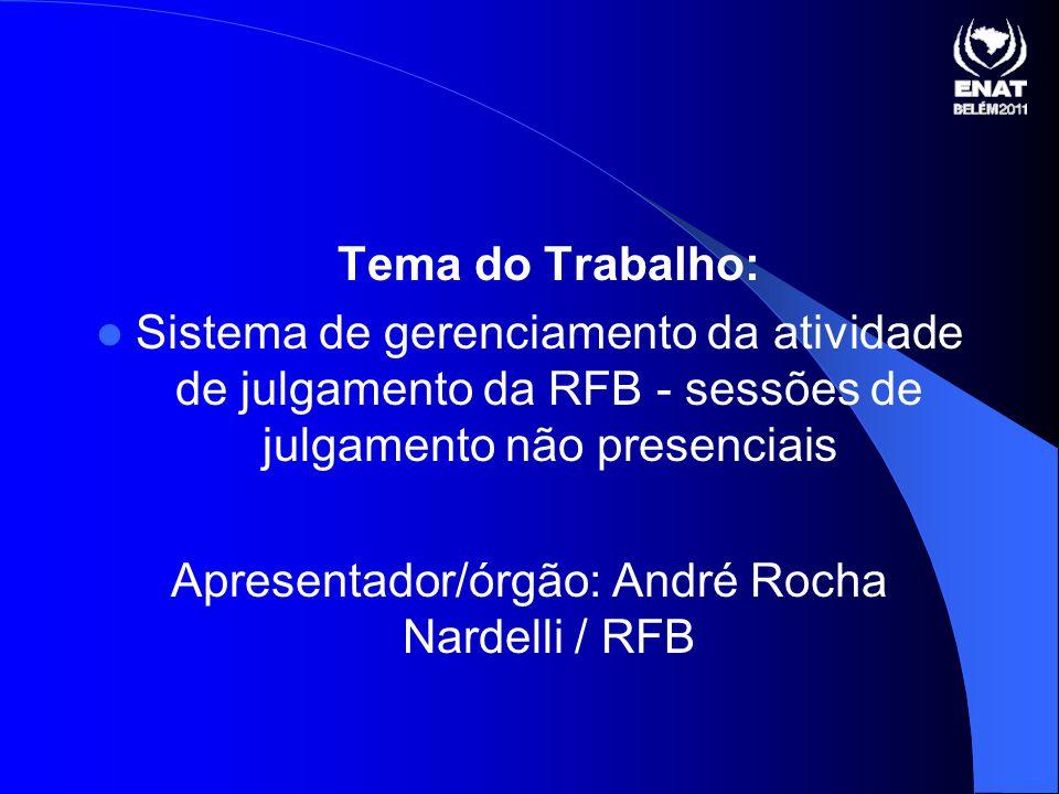 Tema do Trabalho: Sistema de gerenciamento da atividade de julgamento da RFB - sessões de julgamento não presenciais Apresentador/órgão: André Rocha Nardelli / RFB