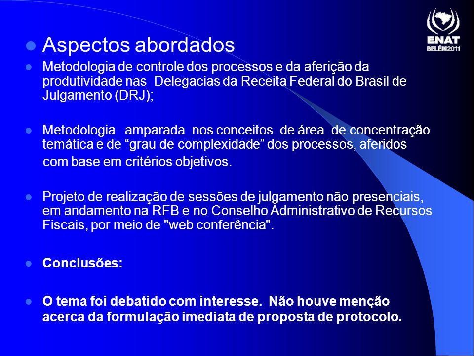 Aspectos abordados Metodologia de controle dos processos e da aferição da produtividade nas Delegacias da Receita Federal do Brasil de Julgamento (DRJ); Metodologia amparada nos conceitos de área de concentração temática e de grau de complexidade dos processos, aferidos com base em critérios objetivos.