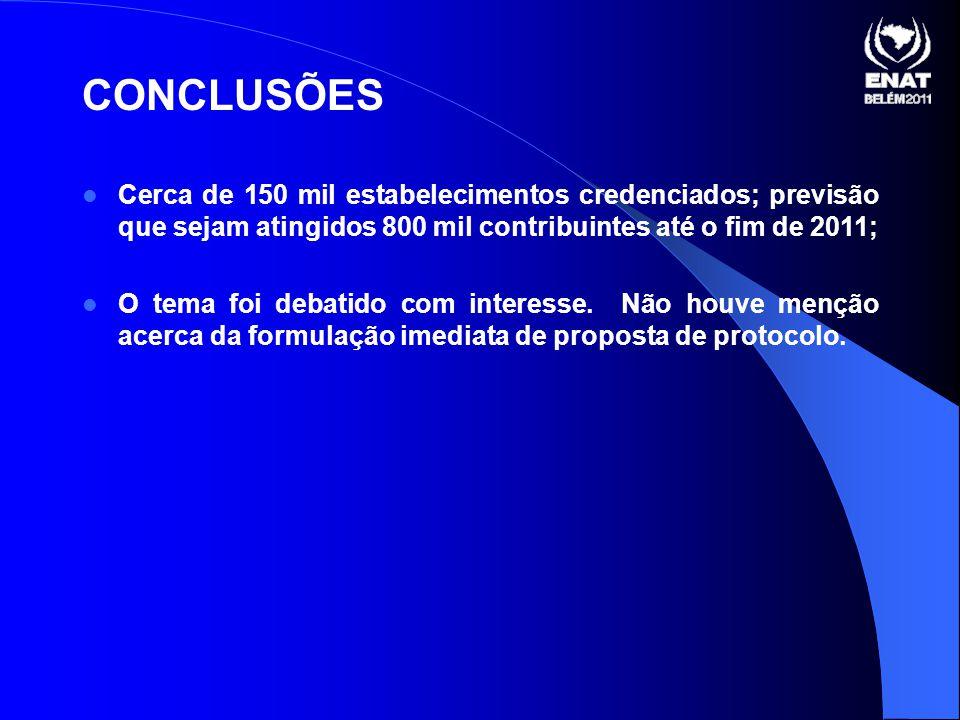 CONCLUSÕES Cerca de 150 mil estabelecimentos credenciados; previsão que sejam atingidos 800 mil contribuintes até o fim de 2011; O tema foi debatido com interesse.