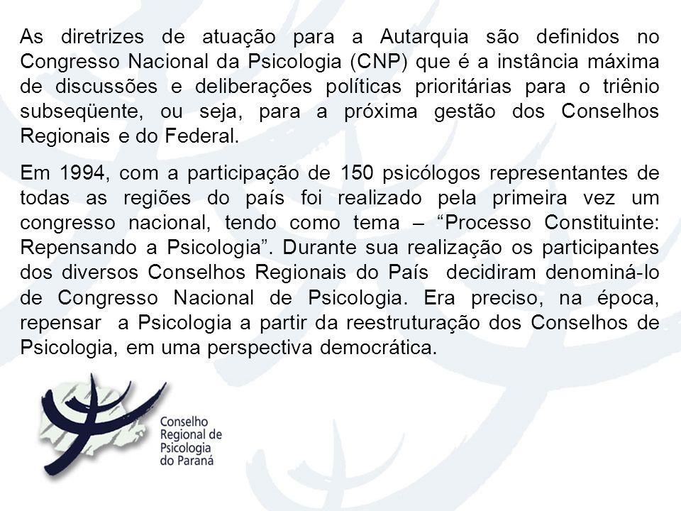 As diretrizes de atuação para a Autarquia são definidos no Congresso Nacional da Psicologia (CNP) que é a instância máxima de discussões e deliberaçõe