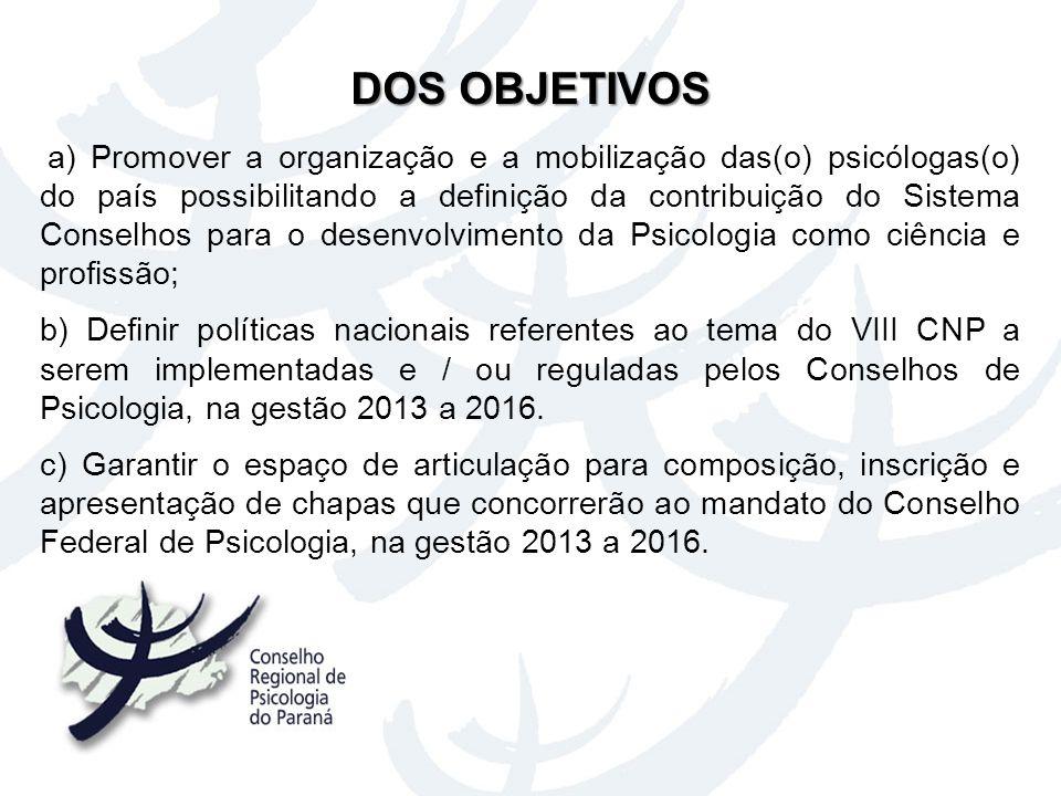 a) Promover a organização e a mobilização das(o) psicólogas(o) do país possibilitando a definição da contribuição do Sistema Conselhos para o desenvol
