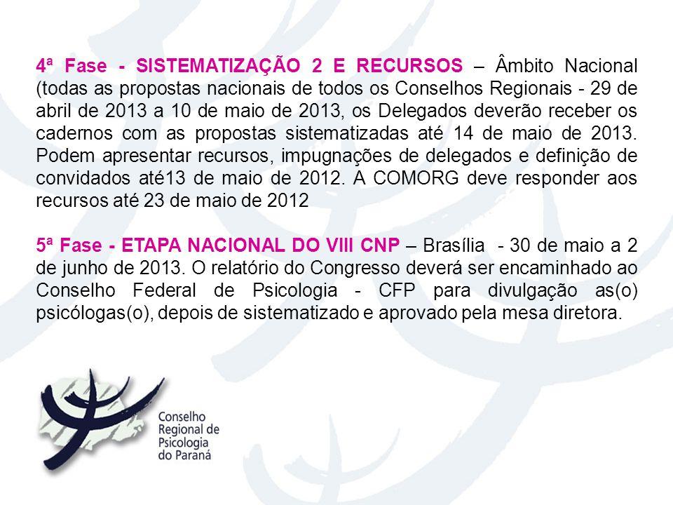 4ª Fase - SISTEMATIZAÇÃO 2 E RECURSOS – Âmbito Nacional (todas as propostas nacionais de todos os Conselhos Regionais - 29 de abril de 2013 a 10 de ma