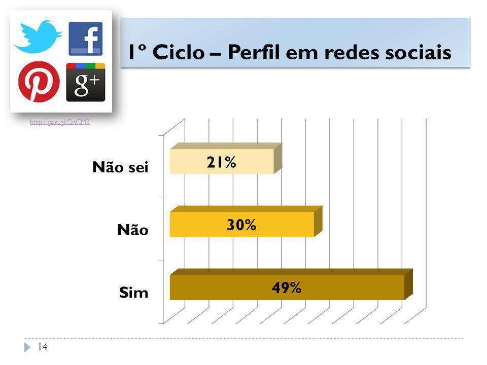 1º Ciclo – Perfil em redes sociais http://goo.gl/QsCM3 14