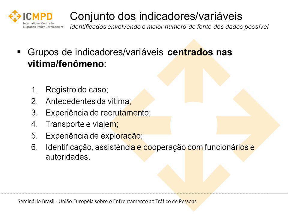 Seminário Brasil - União Européia sobre o Enfrentamento ao Tráfico de Pessoas Conjunto dos indicadores/variáveis identificados envolvendo o maior nume
