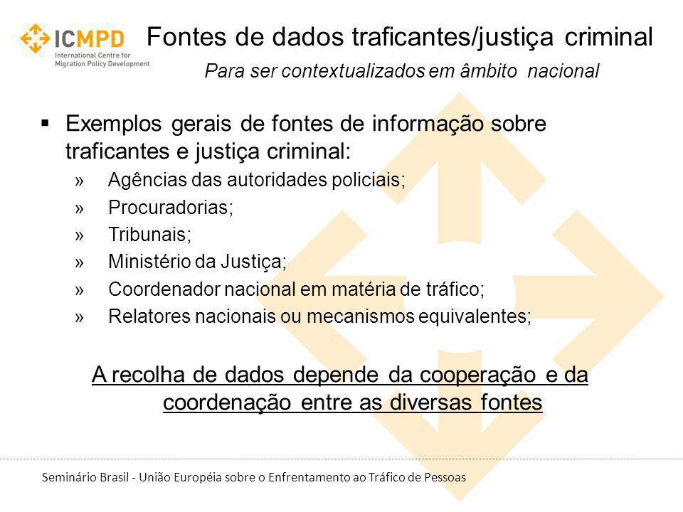 Seminário Brasil - União Européia sobre o Enfrentamento ao Tráfico de Pessoas Fontes de dados traficantes/justiça criminal Para ser contextualizados e