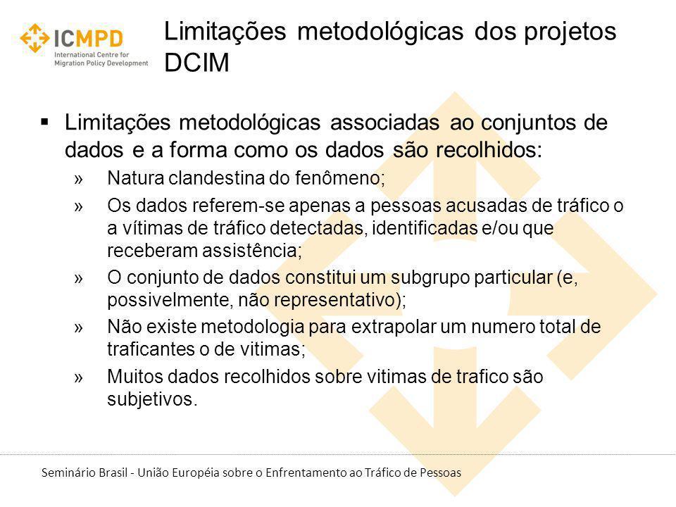 Seminário Brasil - União Européia sobre o Enfrentamento ao Tráfico de Pessoas Limitações metodológicas dos projetos DCIM Limitações metodológicas asso