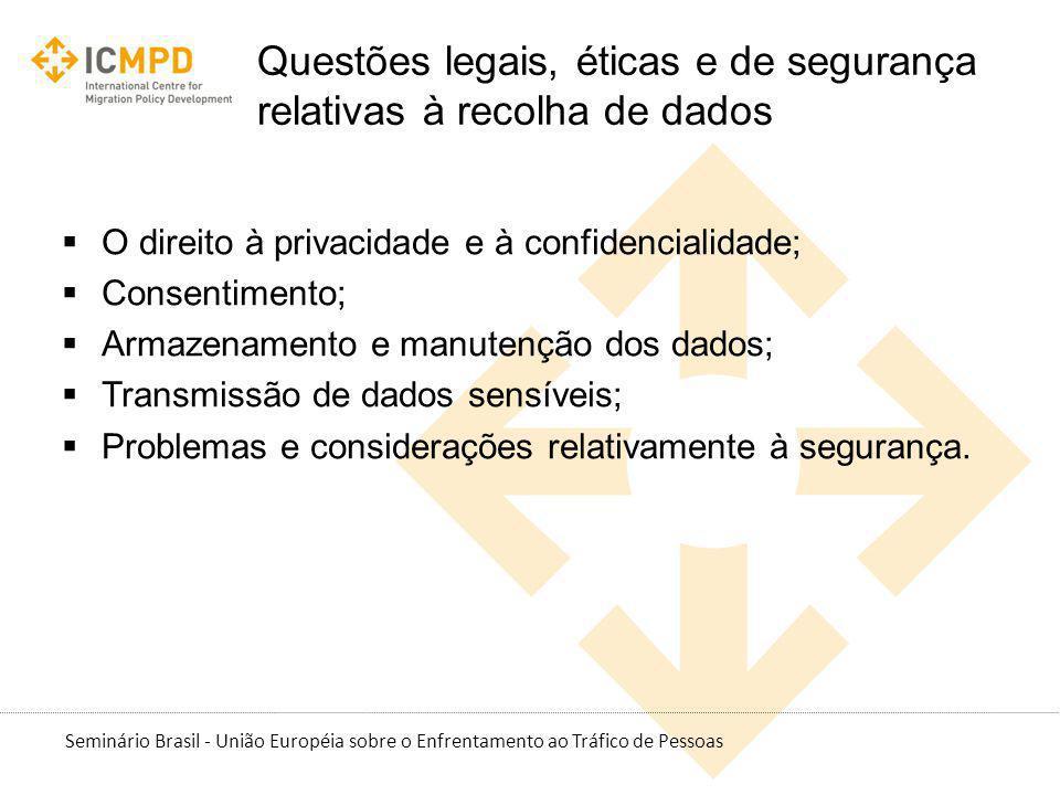 Seminário Brasil - União Européia sobre o Enfrentamento ao Tráfico de Pessoas Questões legais, éticas e de segurança relativas à recolha de dados O di