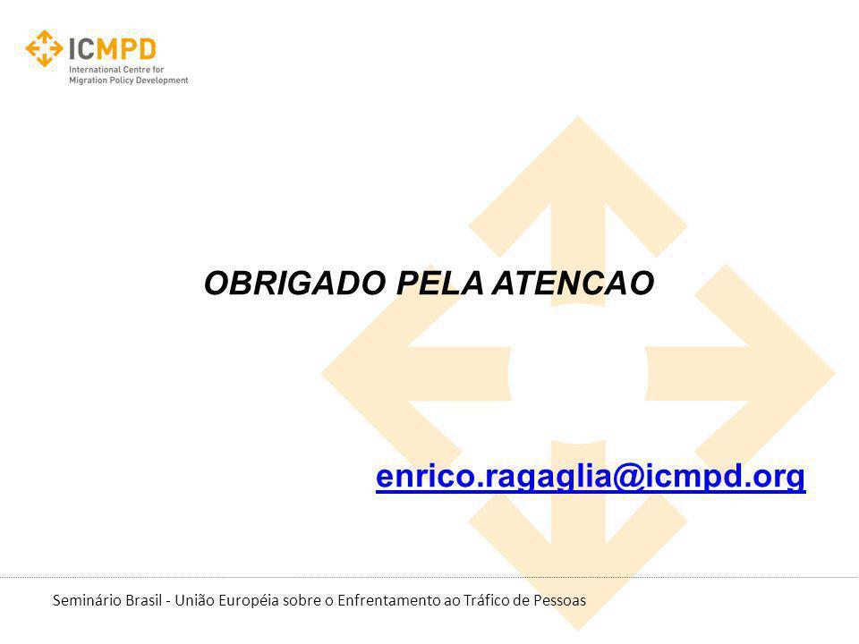 Seminário Brasil - União Européia sobre o Enfrentamento ao Tráfico de Pessoas OBRIGADO PELA ATENCAO enrico.ragaglia@icmpd.org