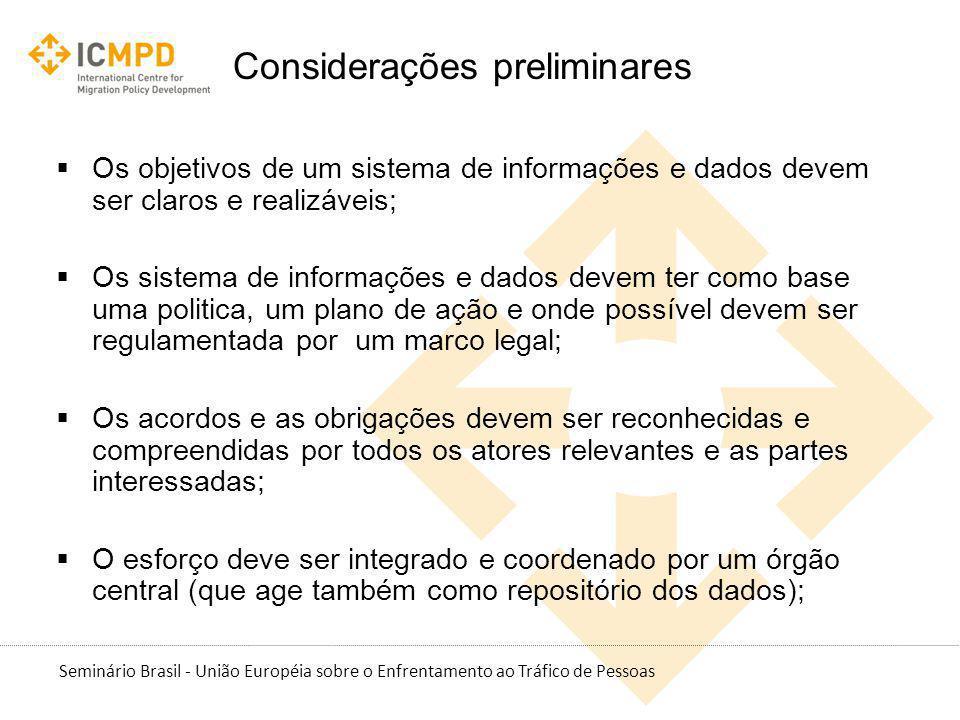 Seminário Brasil - União Européia sobre o Enfrentamento ao Tráfico de Pessoas Considerações preliminares Os objetivos de um sistema de informações e d