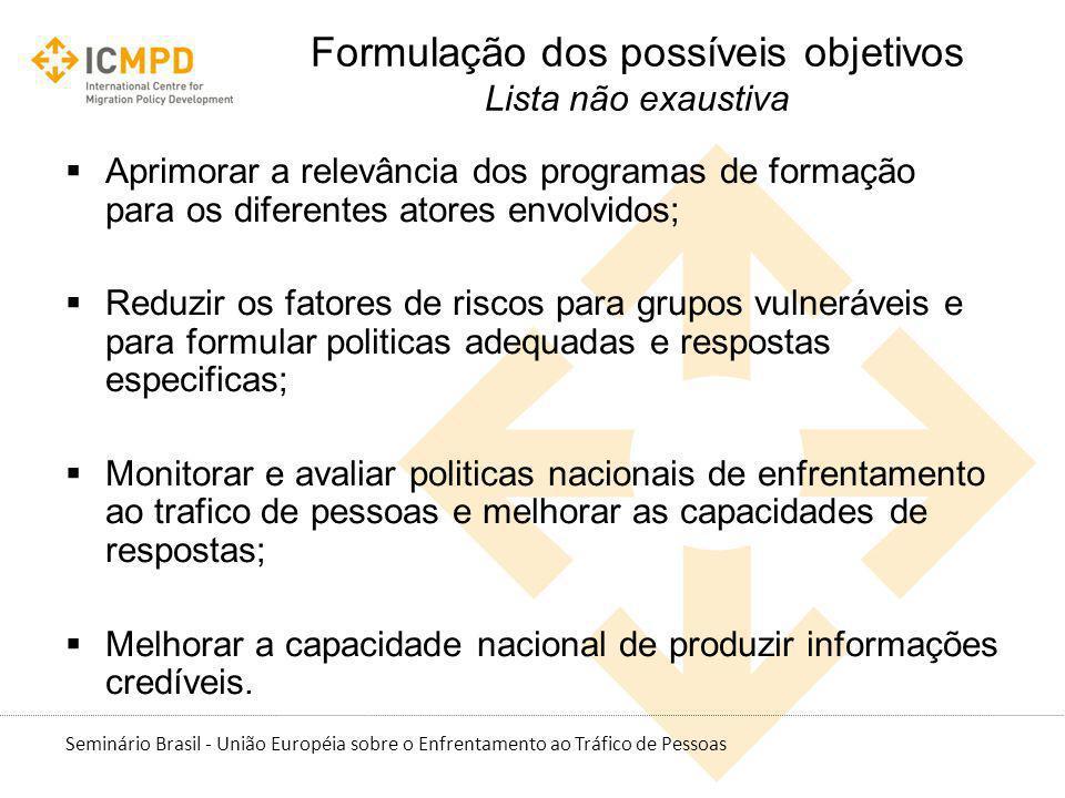 Seminário Brasil - União Européia sobre o Enfrentamento ao Tráfico de Pessoas Aprimorar a relevância dos programas de formação para os diferentes ator