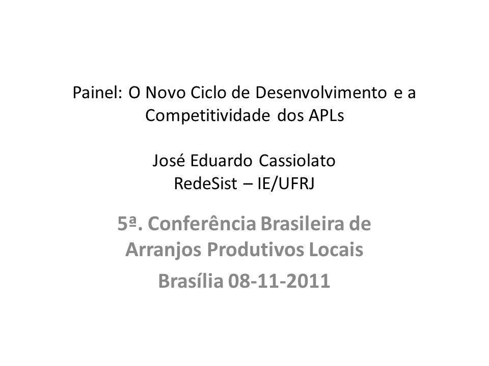 Painel: O Novo Ciclo de Desenvolvimento e a Competitividade dos APLs José Eduardo Cassiolato RedeSist – IE/UFRJ 5ª. Conferência Brasileira de Arranjos