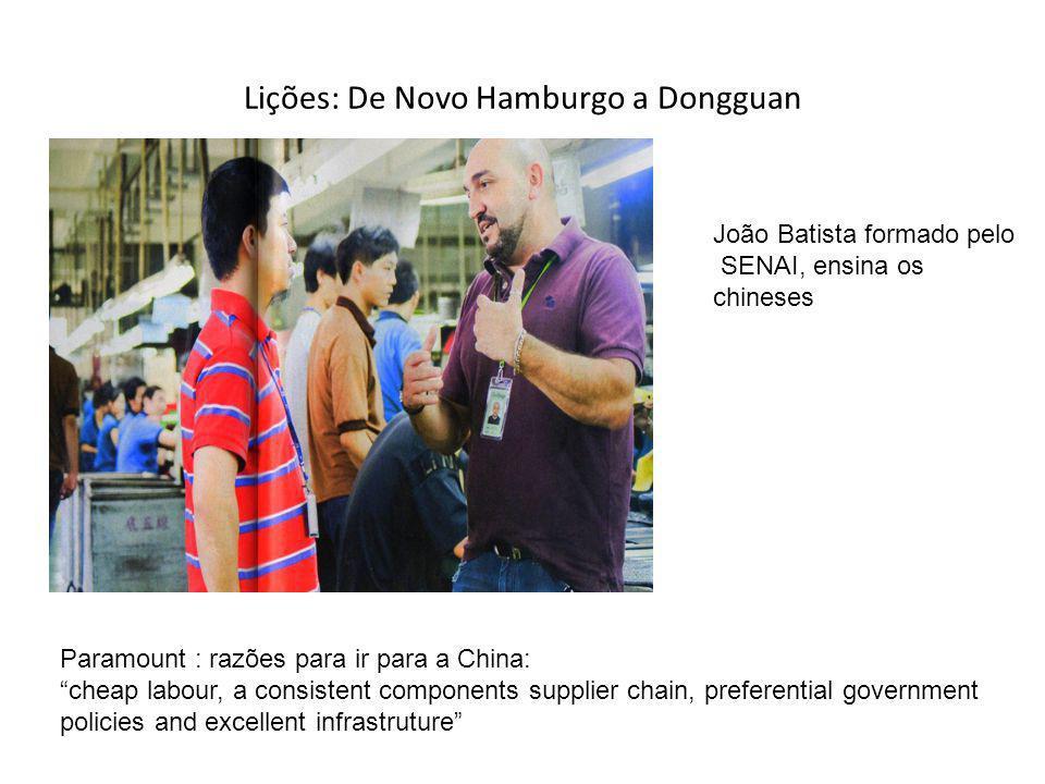 Lições: De Novo Hamburgo a Dongguan Paramount : razões para ir para a China: cheap labour, a consistent components supplier chain, preferential govern
