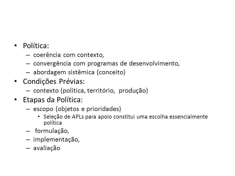 Política: – coerência com contexto, – convergência com programas de desenvolvimento, – abordagem sistêmica (conceito) Condições Prévias: – contexto (p