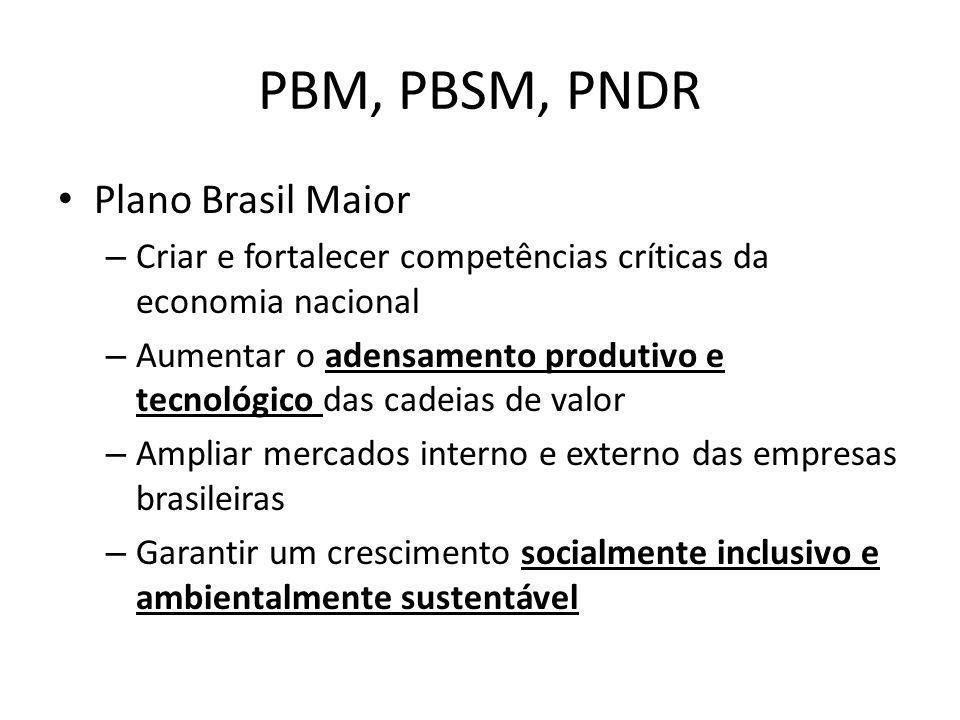 PBM, PBSM, PNDR Plano Brasil Maior – Criar e fortalecer competências críticas da economia nacional – Aumentar o adensamento produtivo e tecnológico da