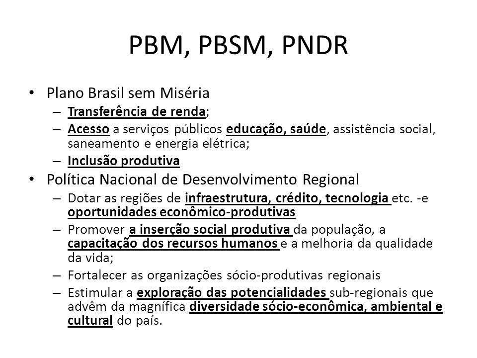 PBM, PBSM, PNDR Plano Brasil sem Miséria – Transferência de renda; – Acesso a serviços públicos educação, saúde, assistência social, saneamento e ener