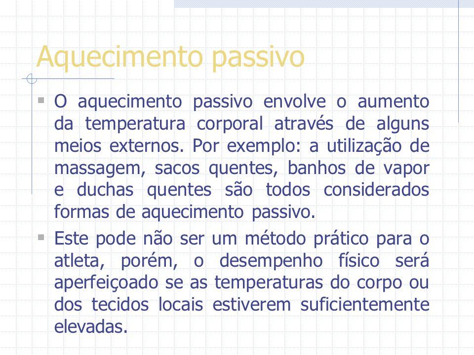 Aquecimento passivo O aquecimento passivo envolve o aumento da temperatura corporal através de alguns meios externos.