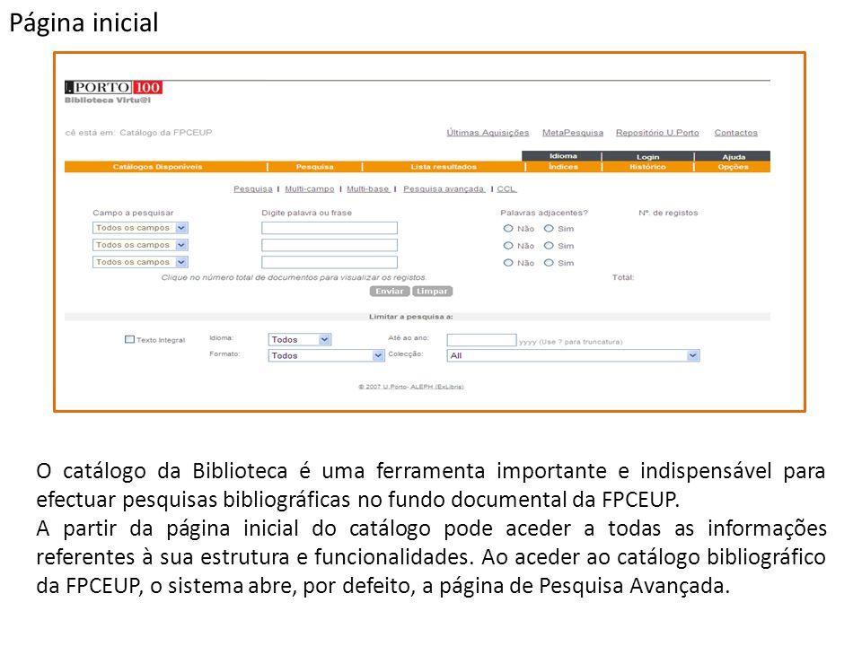 O catálogo da Biblioteca é uma ferramenta importante e indispensável para efectuar pesquisas bibliográficas no fundo documental da FPCEUP. A partir da