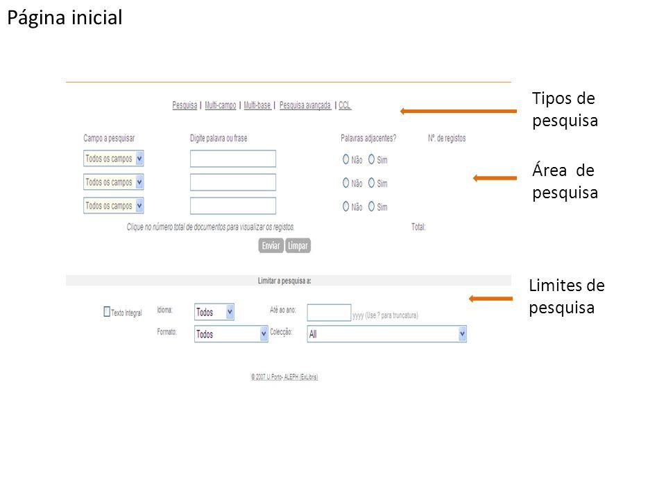 Tipos de pesquisa PesquisaPesquisa avançada A pesquisa permite efectuar pesquisas simples e rápidas.