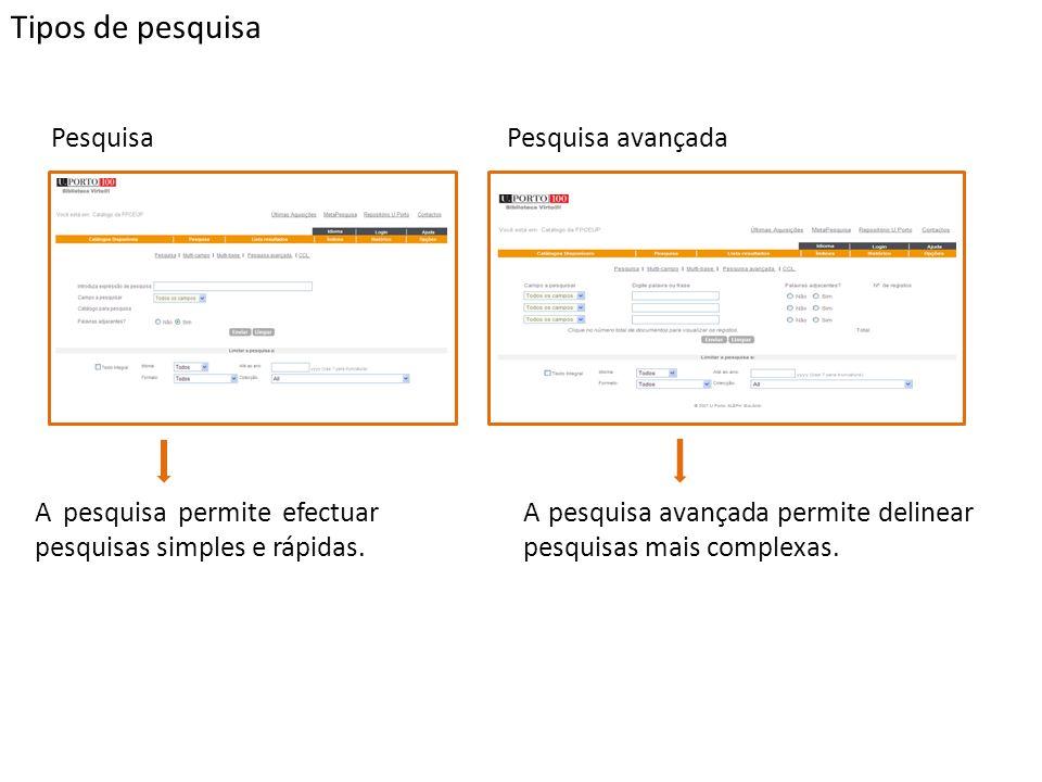 Tipos de pesquisa PesquisaPesquisa avançada A pesquisa permite efectuar pesquisas simples e rápidas. A pesquisa avançada permite delinear pesquisas ma