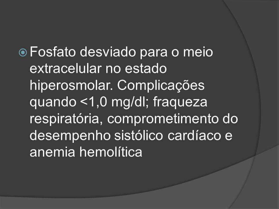 Fosfato desviado para o meio extracelular no estado hiperosmolar. Complicações quando <1,0 mg/dl; fraqueza respiratória, comprometimento do desempenho
