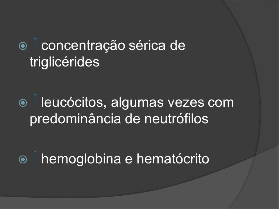 concentração sérica de triglicérides leucócitos, algumas vezes com predominância de neutrófilos hemoglobina e hematócrito