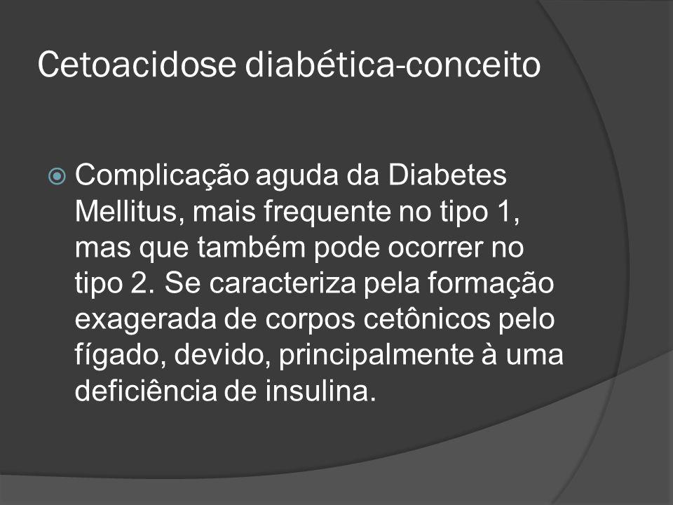 Cetoacidose diabética-conceito Complicação aguda da Diabetes Mellitus, mais frequente no tipo 1, mas que também pode ocorrer no tipo 2. Se caracteriza